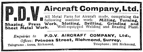 P.D.V. Aircraft Company - Aeronautical Engineers