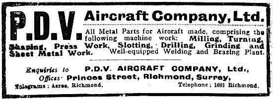 P.D.V. Aircraft Company - Aeronautical Engineers 1919
