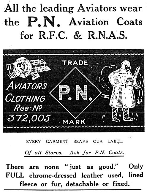 P.N.Stanley. P.N. Aviators Leather Flying Coats 1916