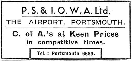 P.S.& I.O.W.A. Ltd Portsmouth - Aircraft Maintenance: CofA's