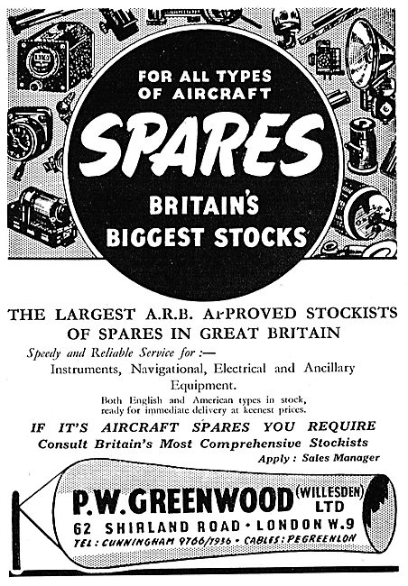 P.W Greenwood Aircraft Parts Stockists