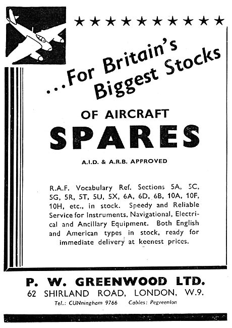 P.W Greenwood (Willesden) - Aircraft Spares Stockists