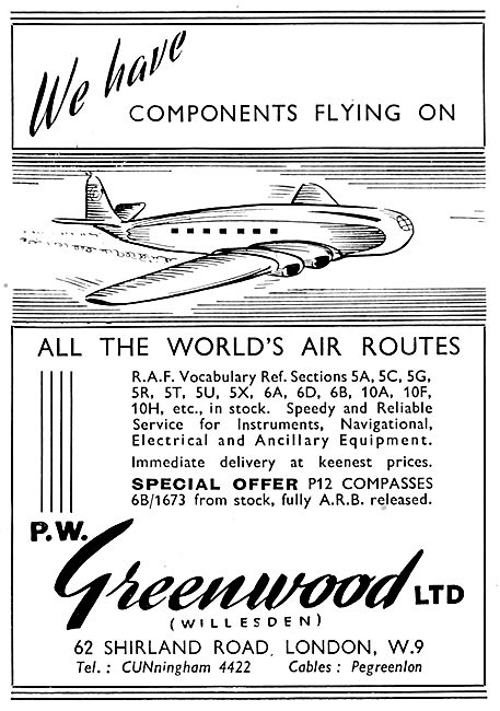 P.W Greenwood - Aircraft Parts Suppliers