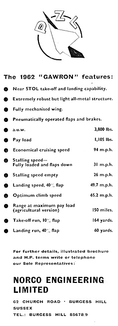 National Aircraft Factory - PZL Gawron 1962. Norco Engineering