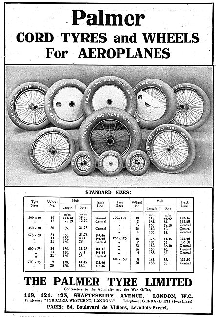 Palmer Cord Tyres & Wheels For Aeroplanes