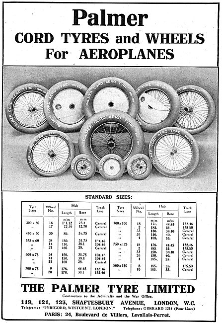 Palmer Cord Tyres & Wheels For Aeroplanes. Product Listings
