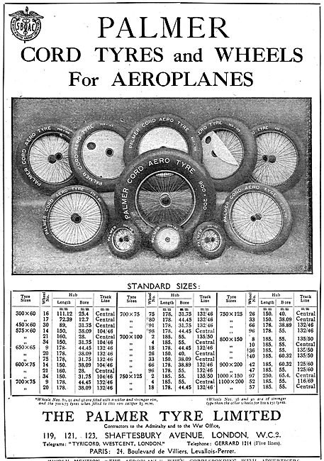 Palmer Cord Tyres & Wheels For Aeroplanes. Size Chart