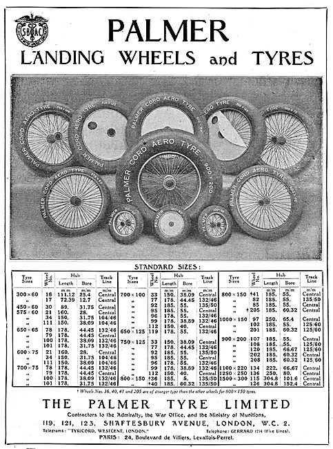 Palmer Landing Wheels & Tyres: 1919 Standard Sizes Chart