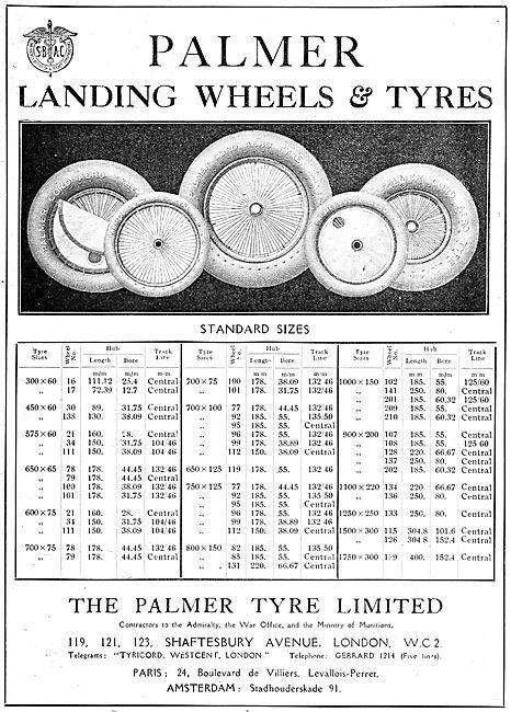 Palmer Aircraft Wheels & Tyres - 1919 Size Chart. Palmer Cord