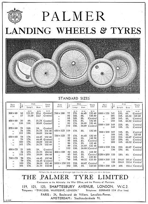 Palmer Cord Aircraft Landing Wheels & Tyres - Size Chart