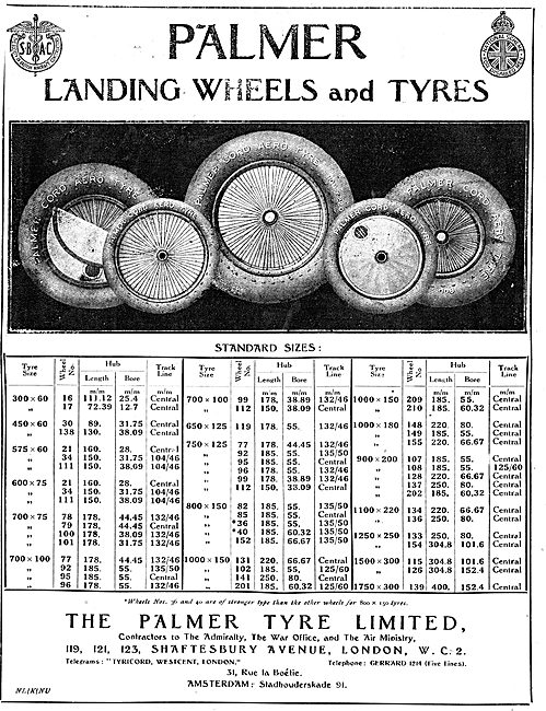 Palmer Landing Wheels & Tyres. 1921 Size Chart.