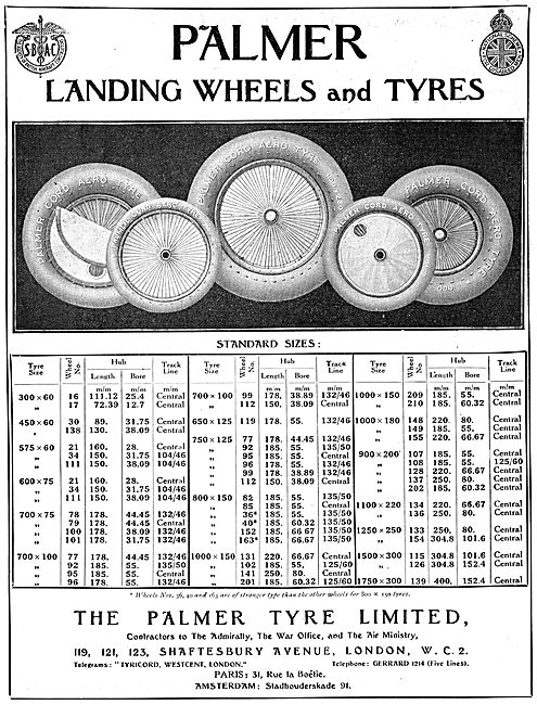 Palmer Landing Wheels & Tyres. 1922 Size Chart