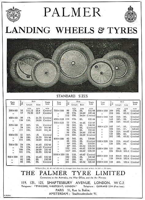 Palmer Aircraft Landing Wheels & Tyres. Standard Size Charts