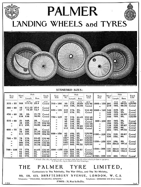 Palmer Landing Wheels And Tyres 1924 Size Chart
