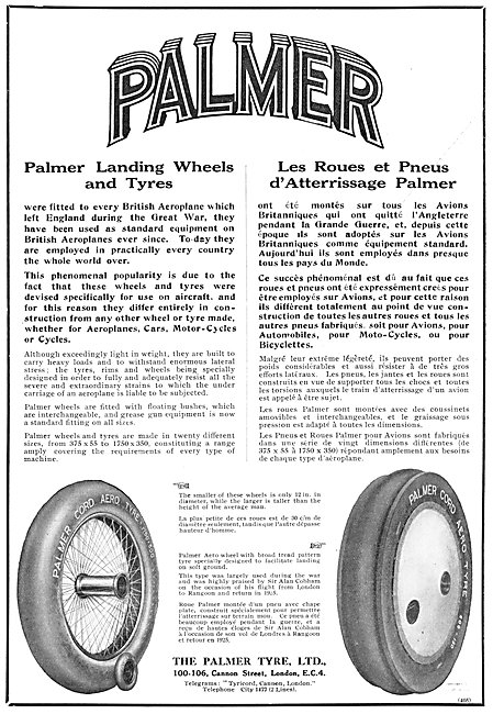 Palmer Tyres & Wheels For Airtcraft 1925