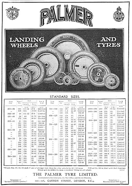 1930 Palmer Wheels & Tyres Size Chart