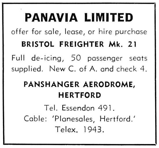 Panavia Aircraft Sales & Leasing Panshanger 1960