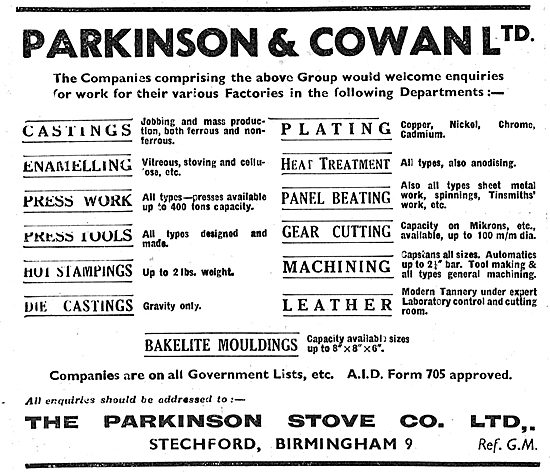 Parkinson & Cowan. Castings,Enamelling,Castings & Machining