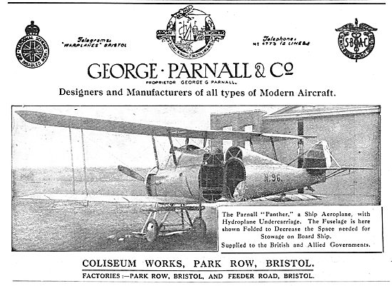 Parnall Panther Ship Aeroplane With Hydroplane Undercarriage. N96