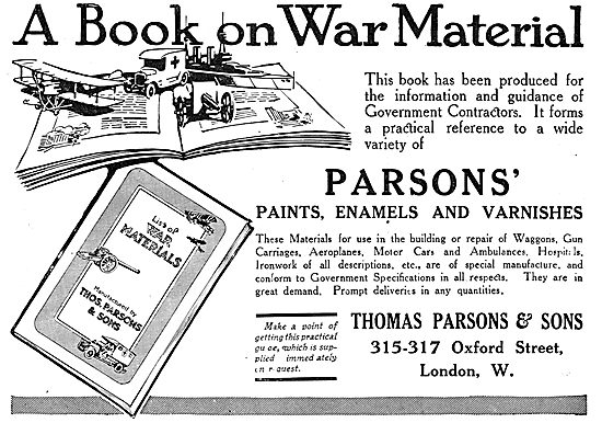 Thos Parsons Varnish & Paints For Aeroplanes