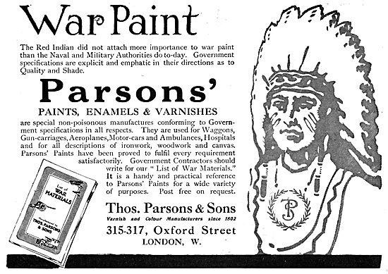 Thos Parsons Paints, Enamels & Varnishes For Aircraft