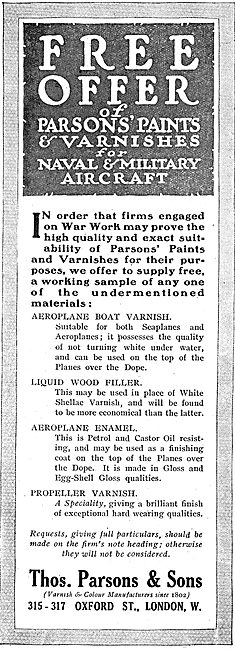 Thos Parsons Varnish & Paints For Military Aeroplanes