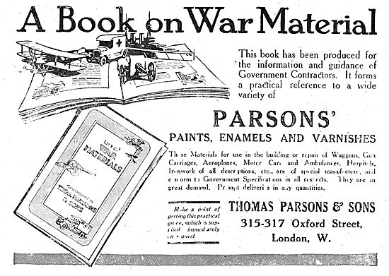 Thos Parsons Book On War Materials. Aero Paints & Enamels