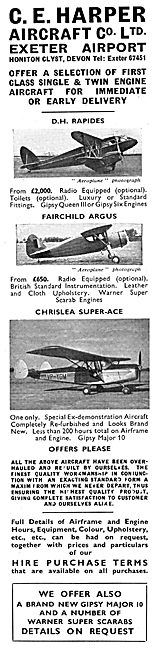 C.E.Harper Aircraft Co. EXeter Airport. Aircraft Sales