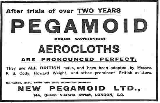 Pegamoid Brand Waterproof Aviation Cloth Used By Cody & H.Wright