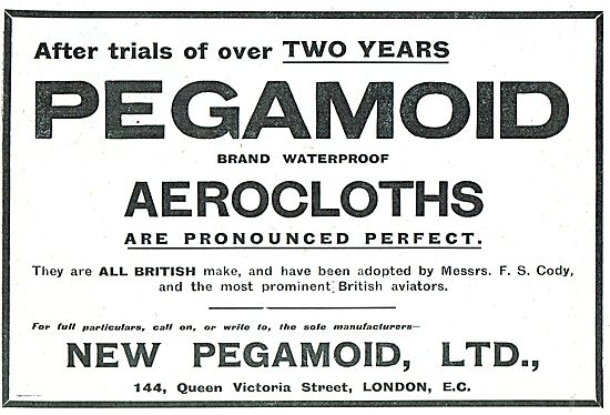 Pegamoid Aerocloths Adopted By S.F.Cody & Other British Aviators