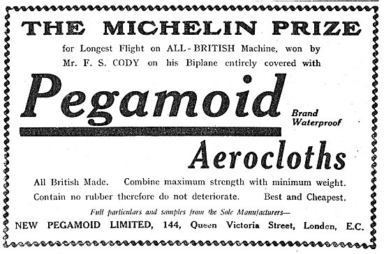 Cody's Michelin Cup Wiining Biplane Covered With Pegamoid