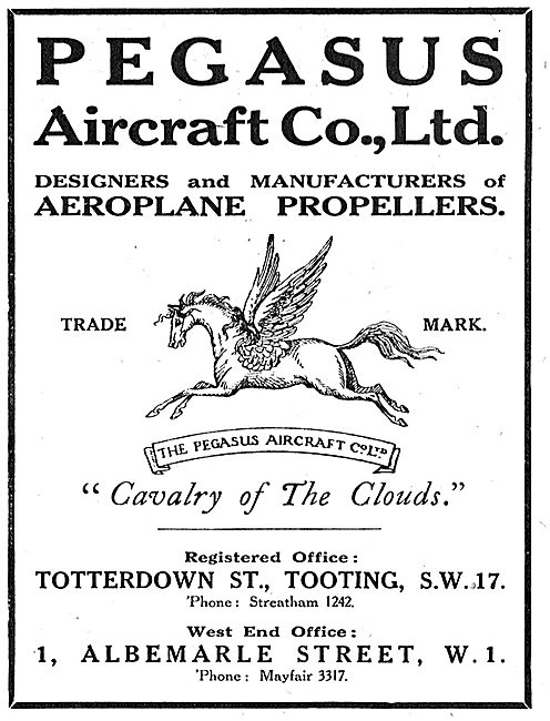 Pegasus Aircraft. - Propeller Manufacturers. 1918 Advert