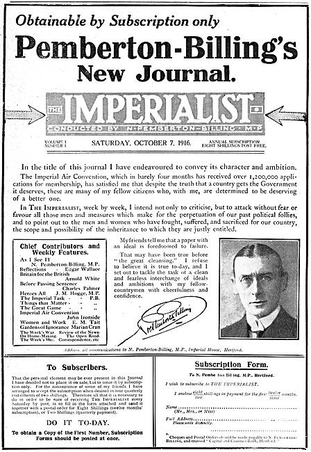 Noel Pemberton Billing The Imperialist Journal 1916