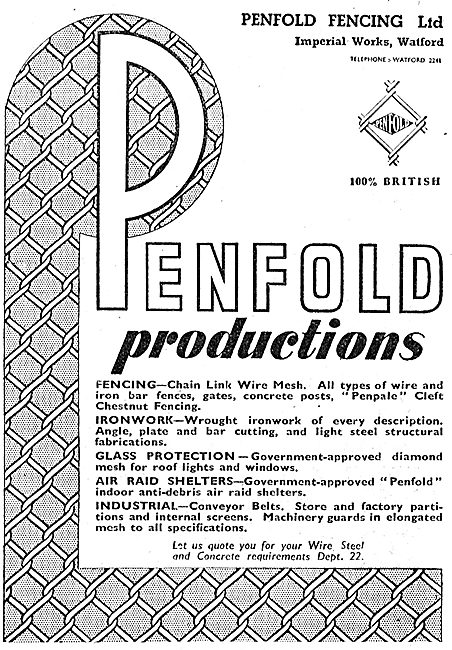 Penfold Fencing, Ironwork & ARP Shelters. 1942 Advert