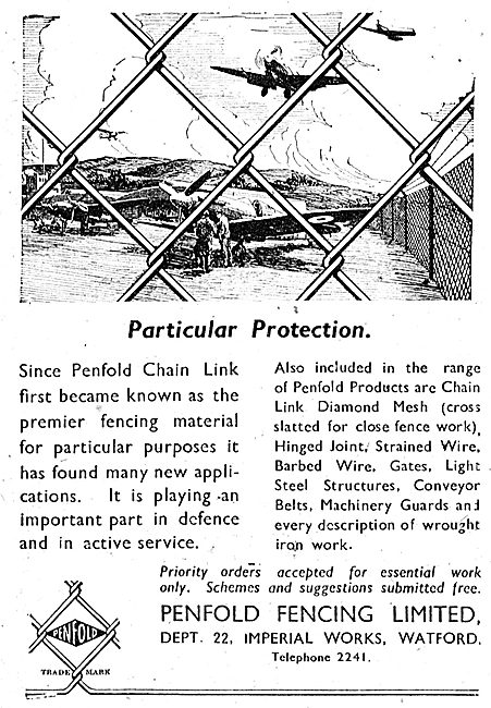 Penfold Chain Link Fencing For Airfields & Factories 1943