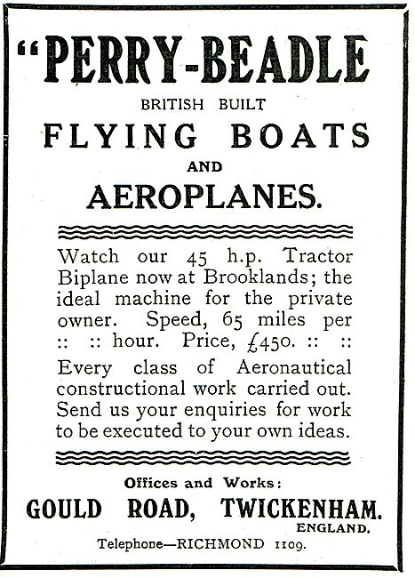 Perry-Beadle  Aviation British Built Flying Boats & Aeroplanes
