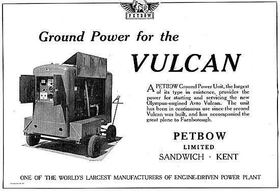 Petbow Ground Power Units Chosen For The Vulcan.