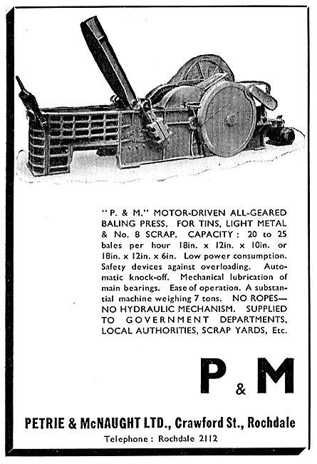 Petrie & McNaught. Crawford St, Leeds. Motor Driven Baling Press