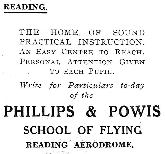 Phillips & Powis School Of Flying. Reading Aerodrome. 1931