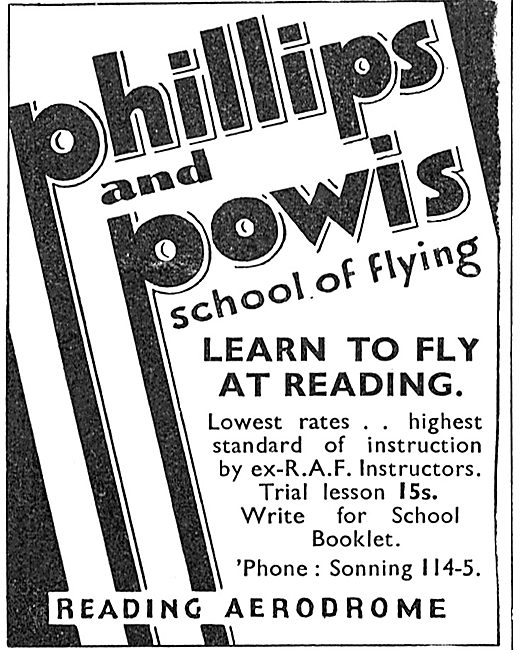 Phillips & Powis Flying School Reading - Trial lesson 15/-