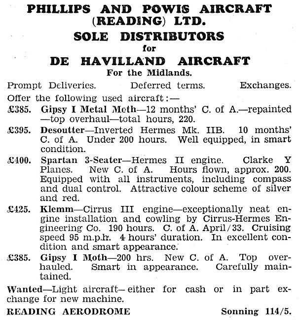 Phillips & Powis Aircraft Sales 1932