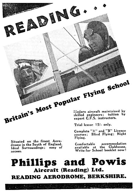Phillips & Powis Reading. Flying School 1932