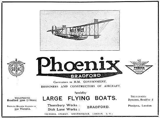 Phoenix Aircraft. Bradford. Contsructors Of  Large Flying Boats