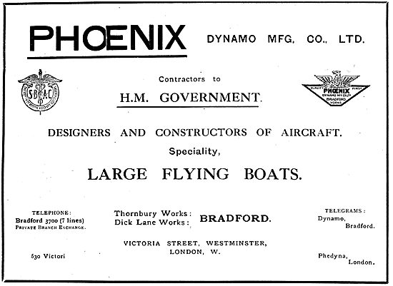 Phoenix Aircraft. Bradford. Contsructors Of  Large Flying Boats