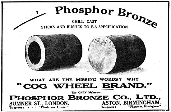 Phosphor Bronze Company -  Cog Wheel Brand Chill Cast Bushes