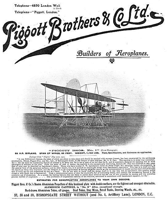 Piggott Brothers - Builders Of Aeroplanes. No1 Aeroplane