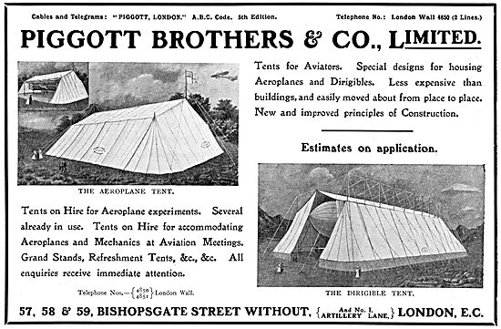 Piggott Brothers - Tents For Aeroplanes & Dirigibles