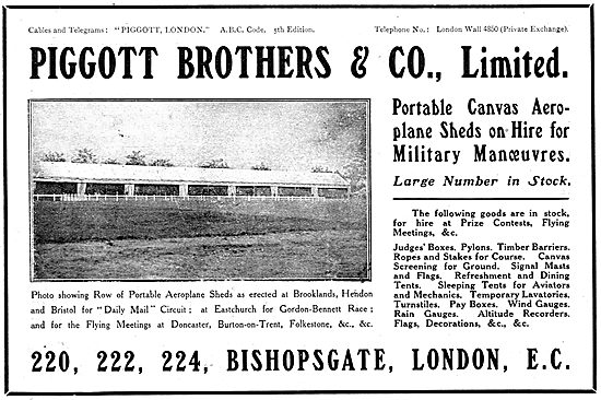 Piggott Brothers Aeroplane Hangars & Portable Buildings