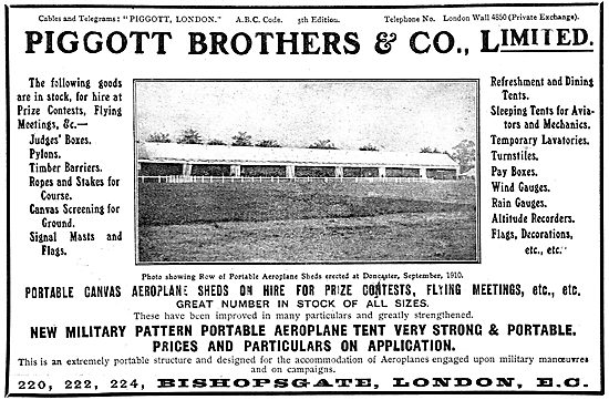 Piggott Brothers Aeroplane Hangars, Tents & Portable Buildings