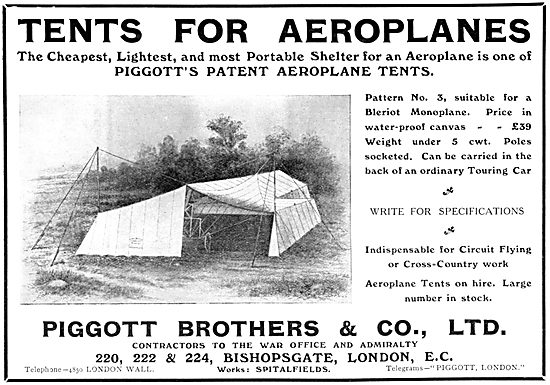 Piggott Brothers Tents For Aeroplanes